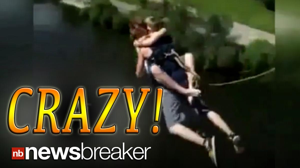 CRAZY!: Woman Uses Boyfriend as Harness When Jumping off a Bridge