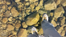 Don't Mind Me, Just Walking Over A Crystal Clear Frozen Lake In Slovakia