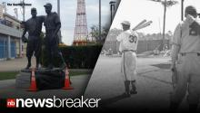 HATE CRIME: Racist Tagger Defaces Statue of Jackie Robinson With Slurs & Swastikas