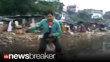 FIRED: Reporter Who did Live Shot Sitting on Flood Victim's Back... Sacked