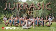 JURASSIC WEDDING: Dinosaur Photobombs Wedding Party