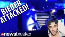 CAUGHT ON TAPE: Pop Star Justin Bieber Attacked On Stage; Fan Tackled; Possible Attempted Hugging