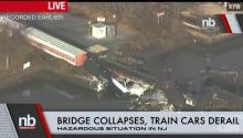 Bridge Collapses, Train Derails Leaking Chemicals