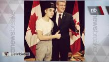 Justin Bieber Meets Prime Minister Wearing Overalls