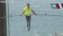 Daredevil Tightrope Walks Across Highway