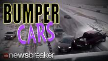 BUMPER CARS: Video Captures Icy Road Pile Up in Colorado After Van Loses Control