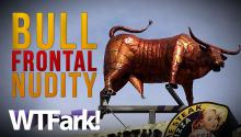 BULL FRONTAL NUDITY: Utah Restaurant Owner Upsets Town With Giant Penised Bull Statue Sign