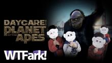 DAYCARE OF THE PLANET OF THE APES: A Garbage Man Wears A Monkey Mask To Visit A Daycare Center And No One Is Freaked Out About It.