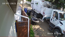 Security Cam Busts Garbage Truck Beating The S*** Out Of A Garbage Can