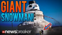 GIANT SNOWMAN!: Minnesota Man Erects 50 Foot Snowman to Keep People Smiling During Polar Vortex