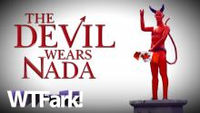 THE DEVIL WEARS NADA: Prankster Erects Nude And Erect Satan Statue In The Middle Of Vancouver. Mmm… Deviled Eggs.