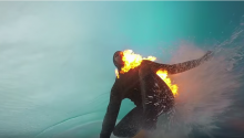 Man Lights Himself On Fire While Surfing