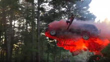 Epic Flaming Vehicle Jump