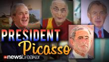 PRESIDENT PICASSO?: George W. Bush Unveils Paintings of World Leaders